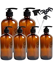 Youngever 6 Pack Empty Amber Glass Pump Bottles, 2 Pack 16 Ounce and 4 Pack 8 Ounce Pump Bottles Refillable Containers for Essential Oils, Cleaning Products, Lotions, Aromatherapy, Durable Black Pumps