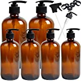 Youngever 6 Pack Empty Amber Glass Pump Bottles, 2 Pack 16 Ounce and 4 Pack 8 Ounce Pump Bottles, Soap Dispenser…
