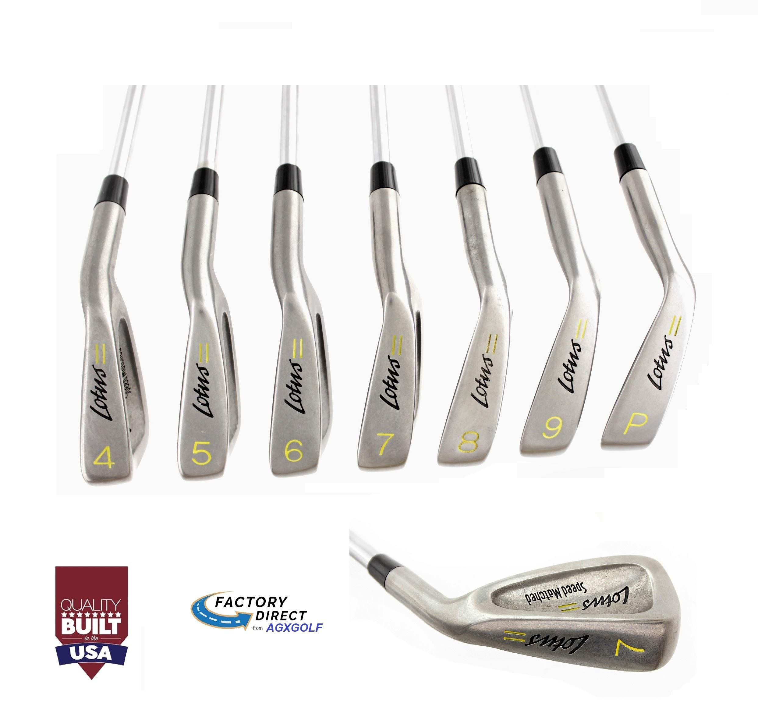 TaylorFit Ladies Right Hand Regular Length Lotus Series Irons Set w/Lady Flex Stainless Steel Shafts: 4, 5, 6, 7, 8 & 9 Irons + Pitching Wedge Built in The USA! by AGXGOLF