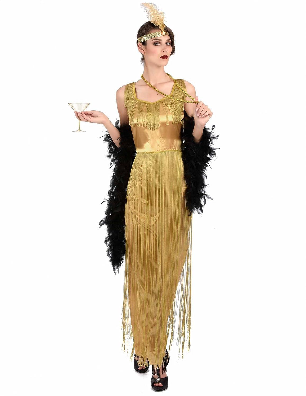 Generique - Disfraz Charlestón Dorado con Flecos Mujer: Amazon.es ...