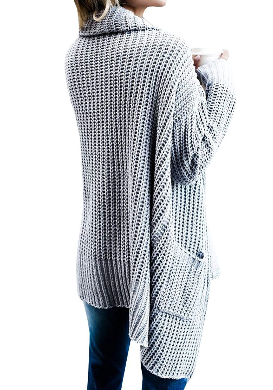 FIRENGOLI Womens Open Front Chunky Sweater Cardigan Long Sleeve Knit Coat with Pocket Grey XL by FIRENGOLI (Image #3)