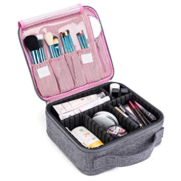 CoolBELL Makeup Bag Travel Makeup Train Case Cosmetic Organizer Case With  Adjustable Dividers for