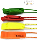 Emergency Whistle with Lanyard (4 pack), HOLDALL Safety Whistle for Outdoor Distress Survival Kayak Boating & Signaling