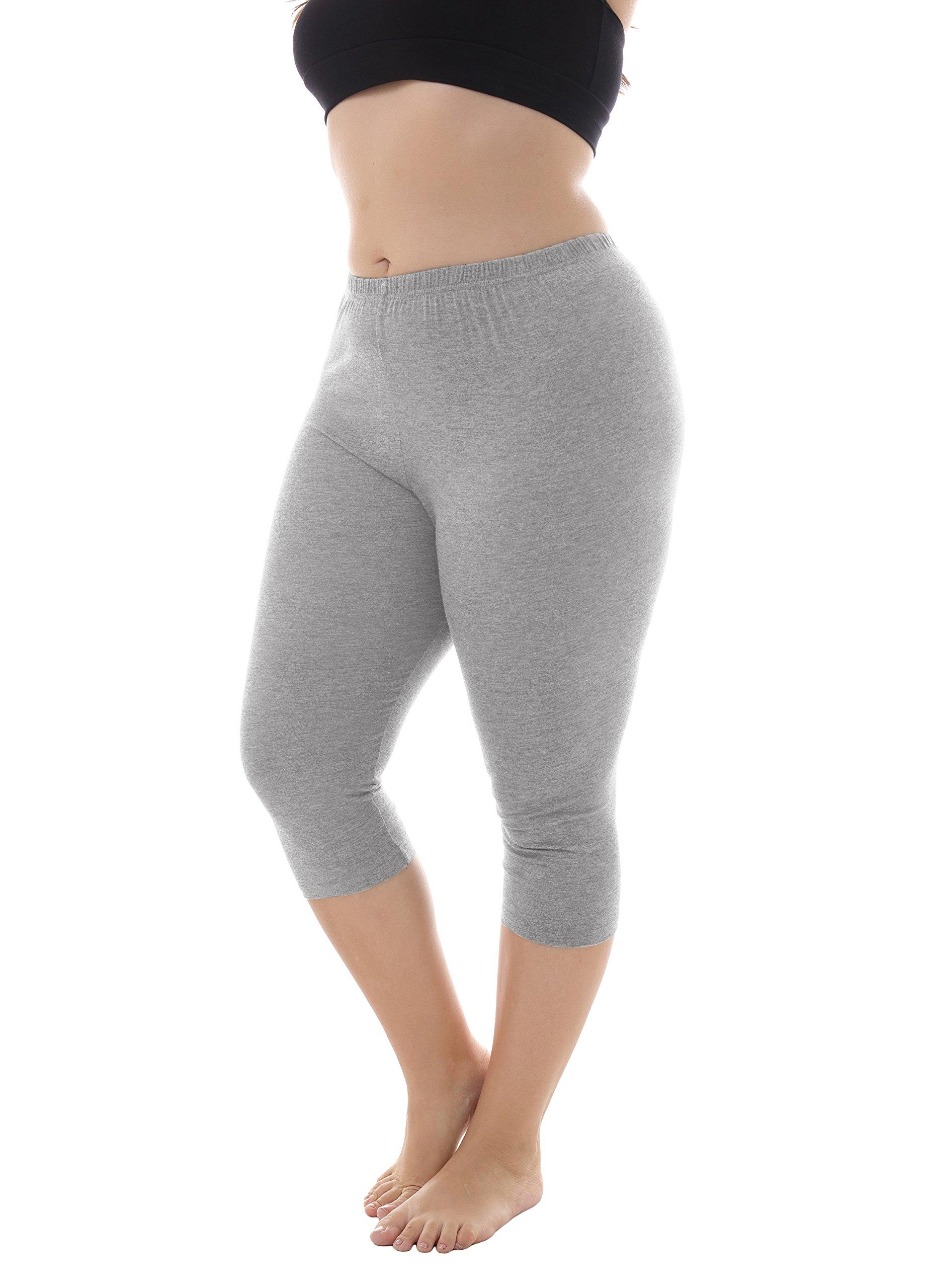 Zerdocean Women's Modal Plus Size Basic Capri Leggings Light Gray 1X