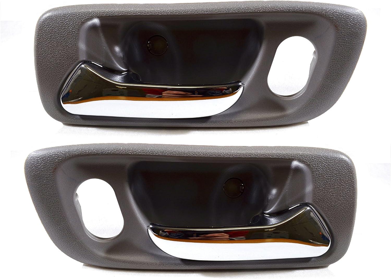 Inside Interior Inner Door Handle Black//Chrome Lever PT Auto Warehouse HO-2238MA-FP Front Left//Right Pair