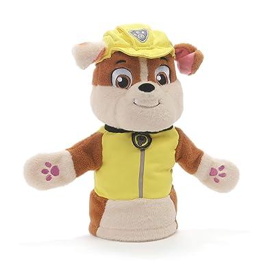 "GUND Paw Patrol Rubble Hand Puppet Plush Stuffed Animal Dog, Yellow, 11"": Toys & Games"