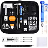 ETEPON Professional Watch Repair Kit Tool Watchmaker Case Back Opener Watch Band Buckle Remove with Scaled Spring Bar Pin Tweezers Screwdriver Case Band Holder Removal ET015