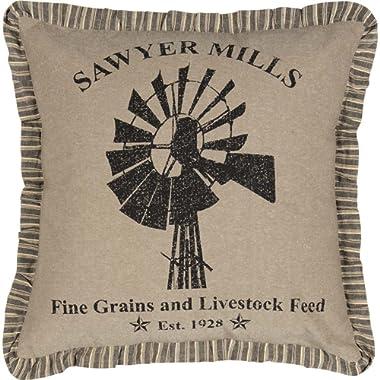 VHC Brands Farmhouse Pillows & Throws - Sawyer Mill Tan Windmill 18  x 18  Pillow, One Size, Charcoal Khaki