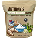 Anthony's Erythritol and Monk Fruit Powder Classic Powder, 1 lb, 2 to 1 Powdered Sugar Substitute, Confectioner's Sweetener,