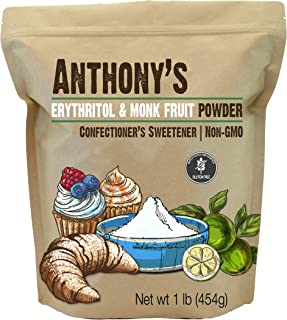 product image for Anthony's Erythritol and Monk Fruit Powder Classic Powder, 1 lb, 2 to 1 Powdered Sugar Substitute, Confectioner's Sweetener, Non GMO, Keto Friendly