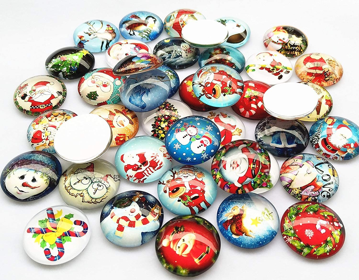 3//4 3//4 Assorted Styles Christmas Snow Man Tree Claus Jingle Bell Glass Button Flatback Flat Backs Button Glass Cameo Cabochon Phonecover Scrapbooking DIY Craft 20mm Libiline 30pcs 20mm