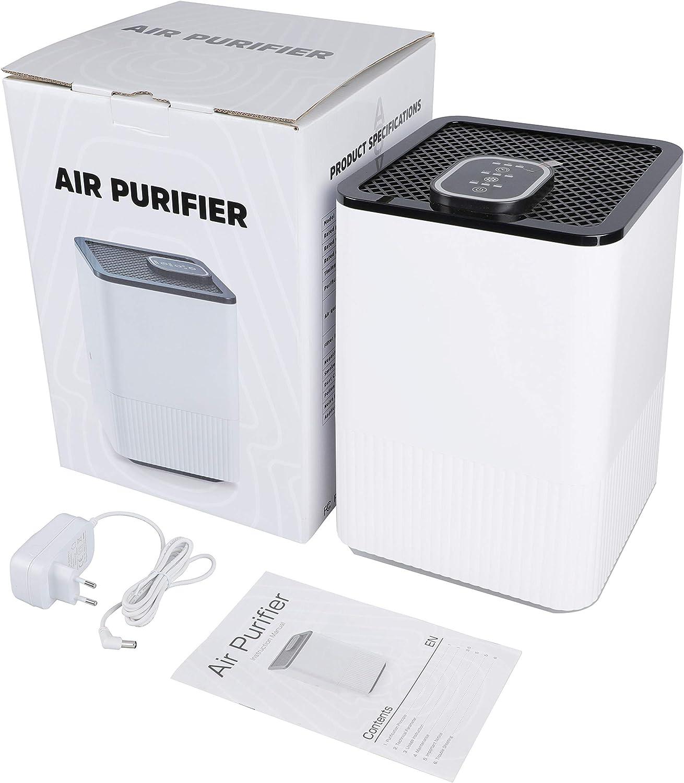 Asthma,Haare,Pollen und Staub 3-Timer-Funktion und 4-Lagen-Filtration f/ür Allergiker Raucher Luftreiniger mit Ionisator und H13-HEPA-Filter Air Purifier mit LED