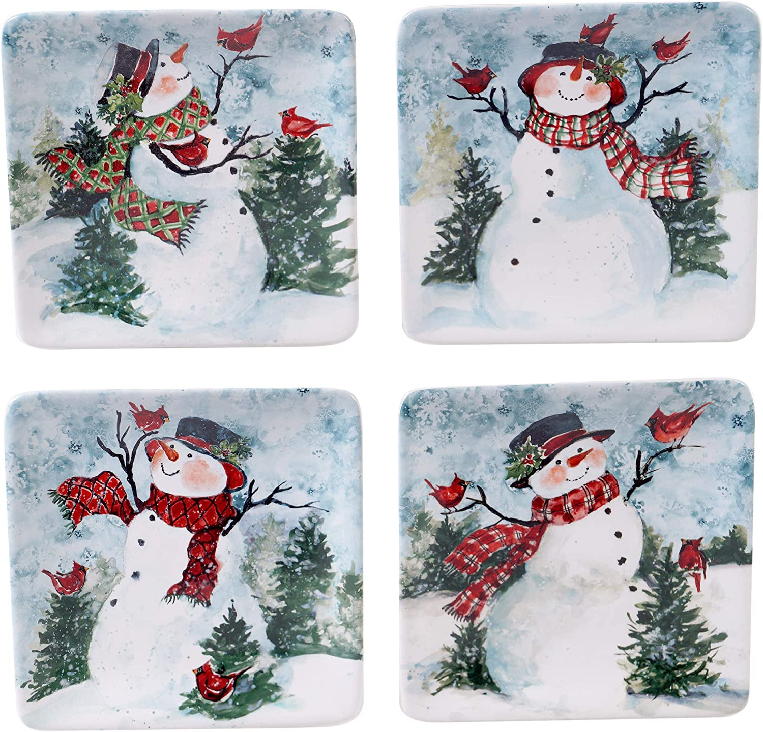 Certified International Watercolor Snowman Square Canape Plates, Set of 4 Assorted Designs,Multicolored