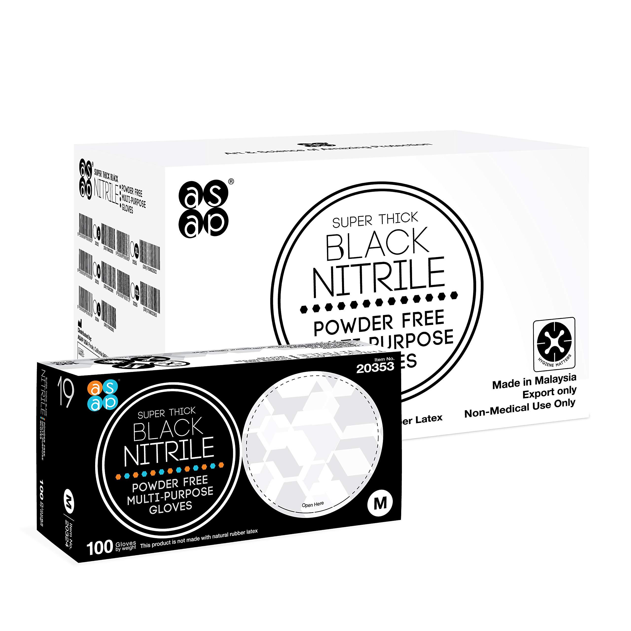 ASAP Black Nitrile Powder Free Multi-Purpose Gloves, Disposable, 5.5 mil, Black (X-Large - Case of 1000)