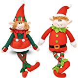 "Set of 2 Christmas Elves Figurines 16"" Boy and Girl Elf Stuffed Toys Plush Sitting Decorative Shelf Sitters Characters for Holiday Home Décor Santa Helper Decorations Holiday Plush Characters Gift"