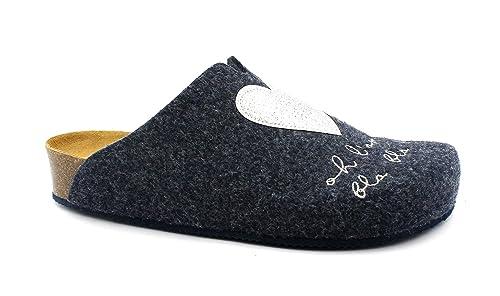 GRUNLAND Lira CB1675 Zapatillas Azules Mujer anatómica Plantar Fieltro 42: Amazon.es: Zapatos y complementos