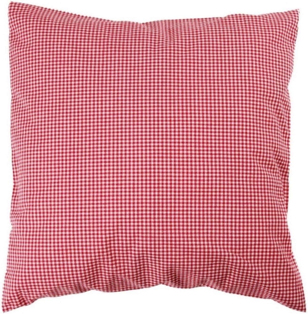 Funda de almohada de 50 x 50 cm vichy de cuadros y 2 x 2 mm colcha de algodón de cuadros de gracias a su diseño de rayas con cremallera, algodón, rojo, 50 x 50 cm