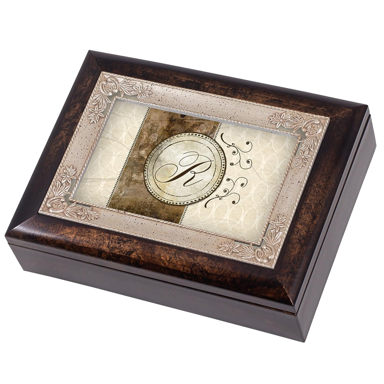 Cottage Garden Monogram Letter M Italian Design Jewelry Music Box Plays Tune Wind Beneath My Wings