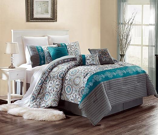 Amazon Com Luxury 7 Piece Bedding Sammy Pin Tuck Comforter Set In