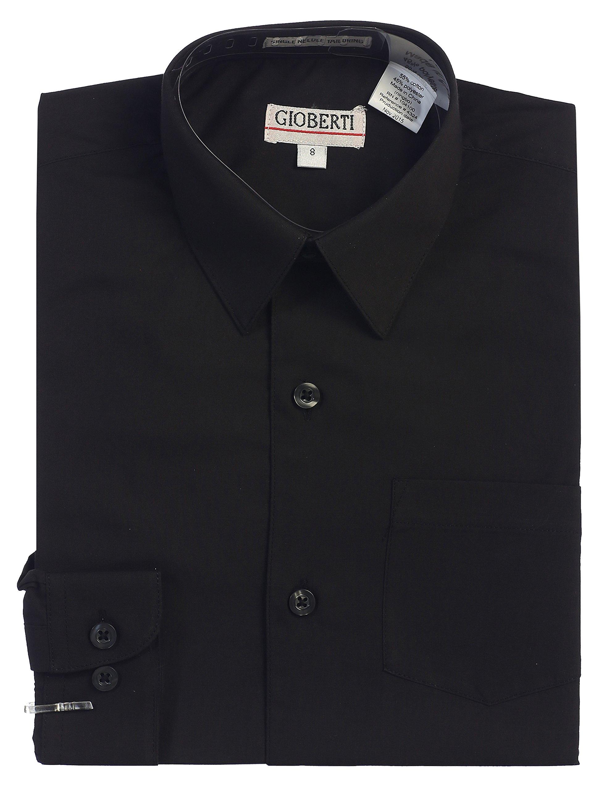 Gioberti Big Boys' Long Sleeve Dress Shirt, Black, 12