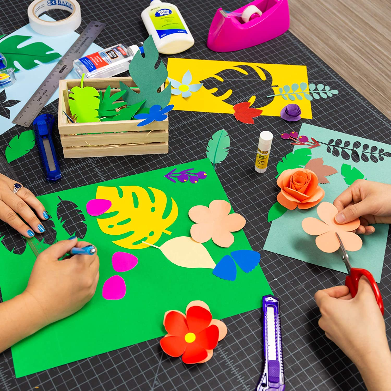 Gift for Toddler Kids Classrooms School Home DIY Projects Assorted Colors Great For Creative Draw Cut Glue Fold BAZIC 48 Sheets 9 X 12 Construction Paper Pad