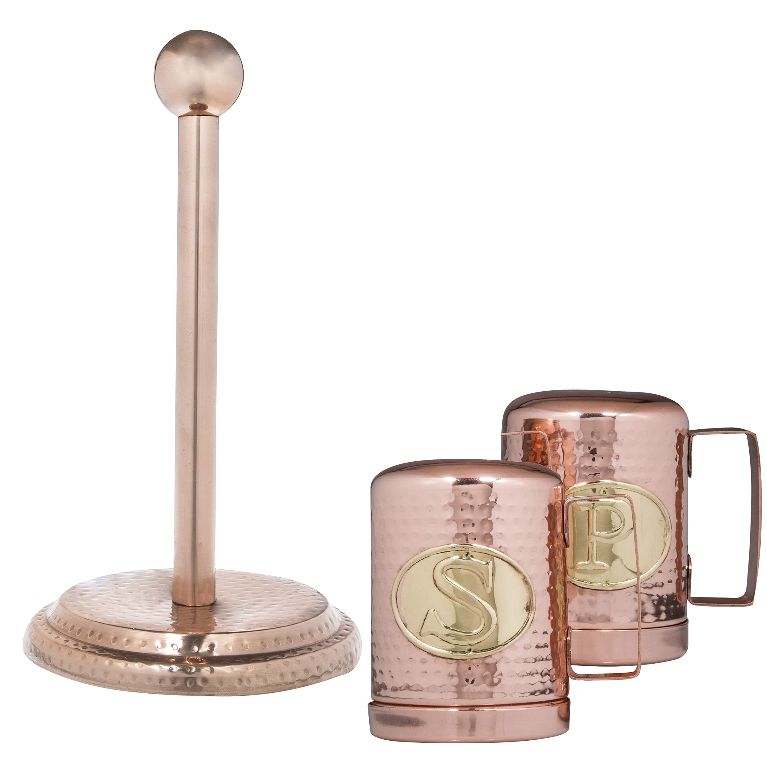 Hammered Copper Finish Stovetop Salt Pepper Shakers and Paper Towel Holder Set by Kitchen Trends
