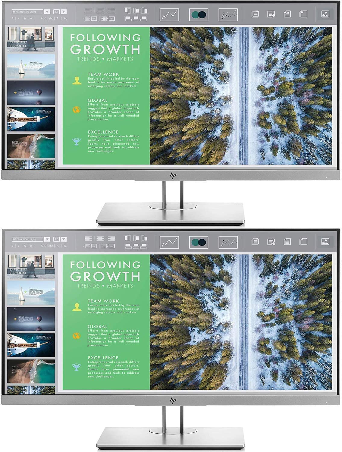 HP EliteDisplay E243 23.8-Inch Screen LED-Lit 2-Pack Monitor Silver (1FH47A8#ABA)
