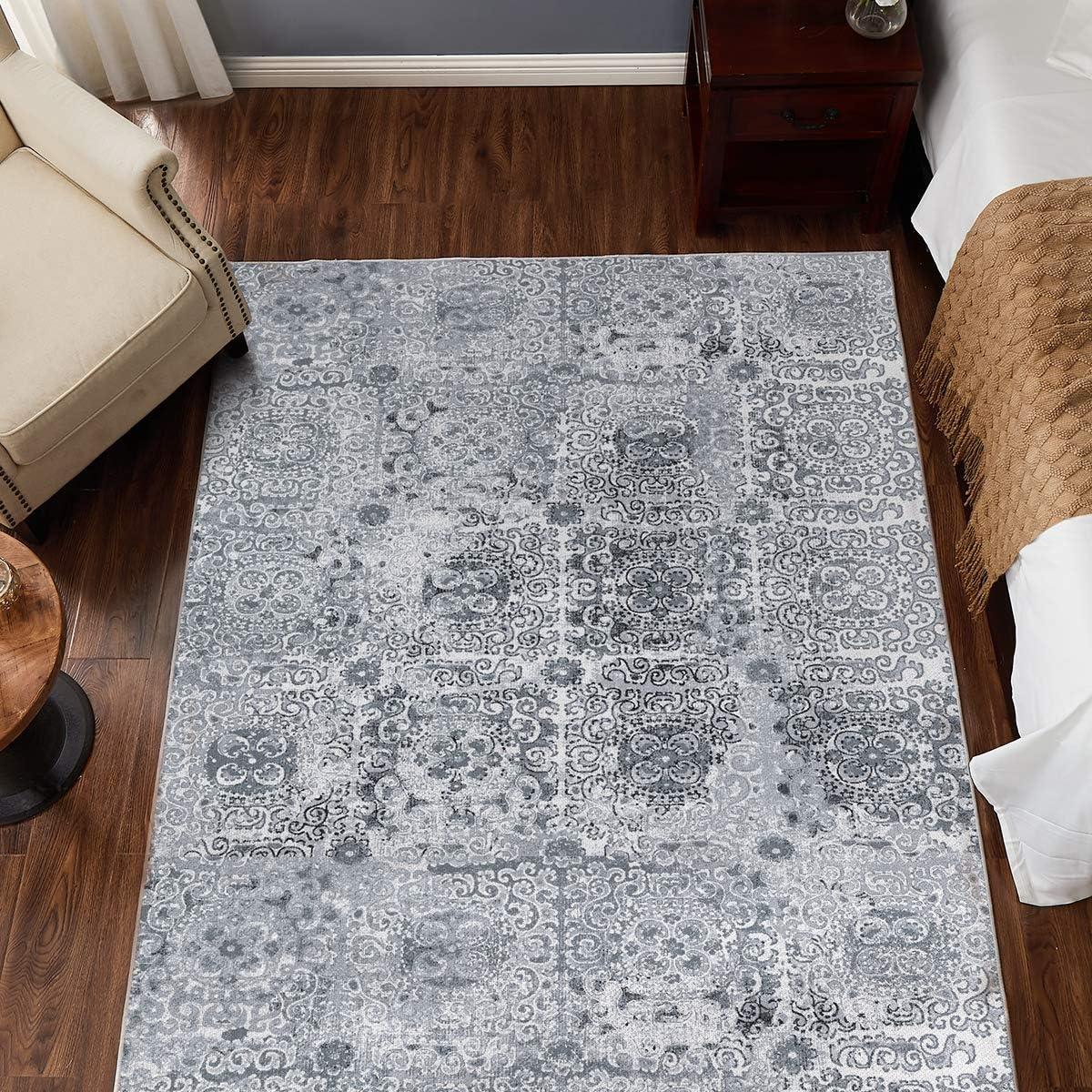 """jinchan Vintage Area Rug for Dining Room Tile Design Elegant Floral Floorcover Indoor Soft Mat for Living Room Grey 5'3""""x 7'"""
