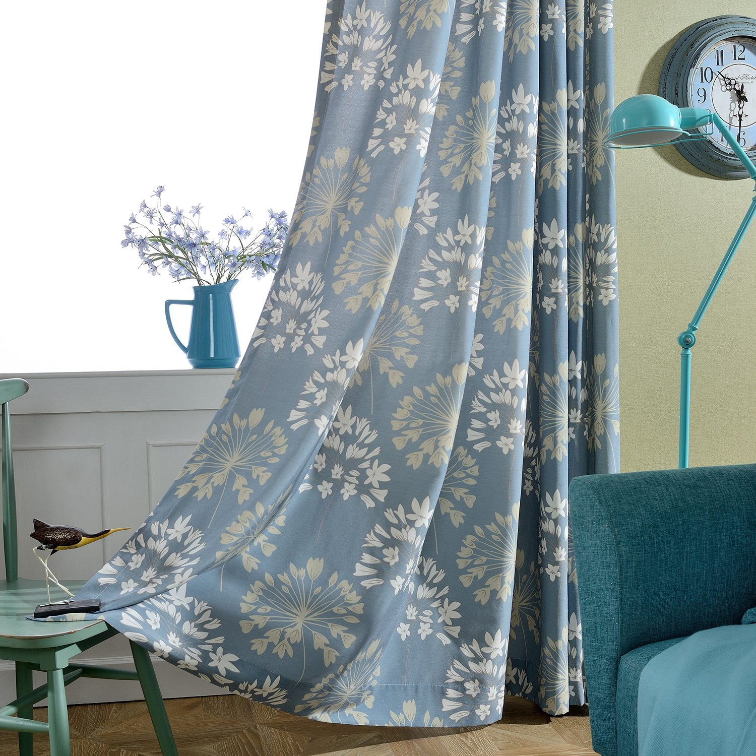 VOGOL Thermal Insulated Window Room Grommet Curtain Drapes for Bedroom and Living Room W52 x L96 inch,White Vintage Floral Patten in Blue Set of 2 Panels