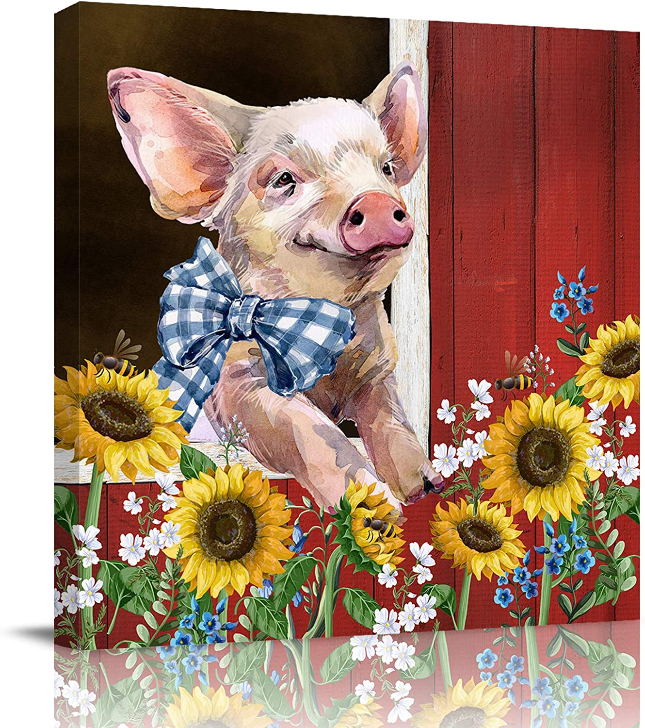 ERXPOOD Funny Pig with Bow Tie Canvas Wall Art Prints Farmhouse Animal with Sunflower Artwork Oil Painting Picture Ready to Hang for Bedroom Bathroom Kitchen Farm Wood Barn 12x12in