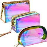 3 Pieces Holographic Makeup Bag Cosmetic Travel Bag Portable Waterproof Toiletries Bag Iridescent Cosmetic Pouch Makeup Organ