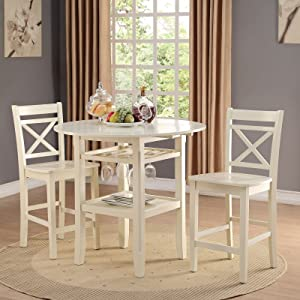 Acme Furniture 72547 Tartys Counter Height Chair (Set of 2), Cream