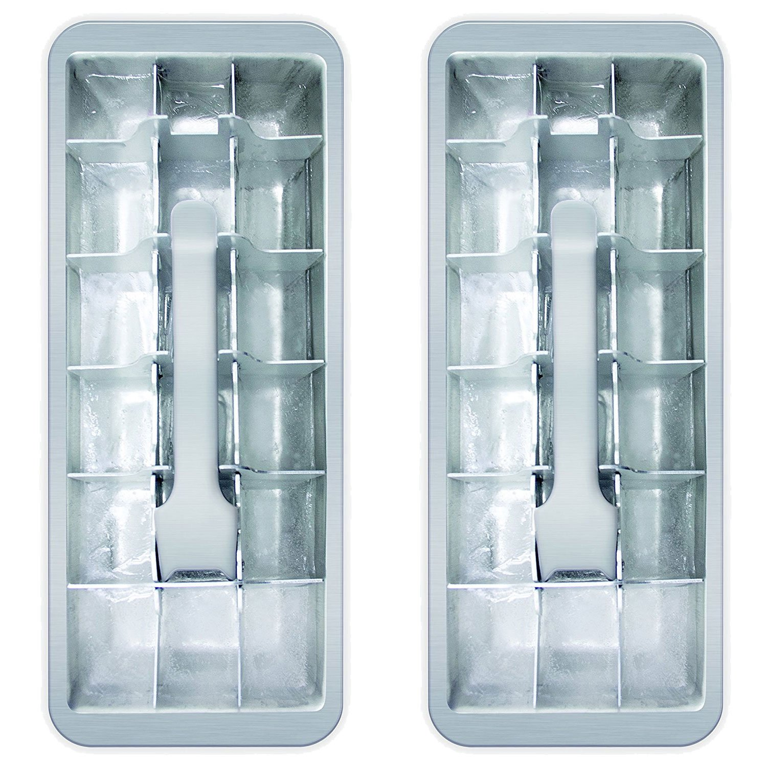 18 Cube Vintage Kitchen Ice Tray 2 Pack Metal Divider Trays With ...