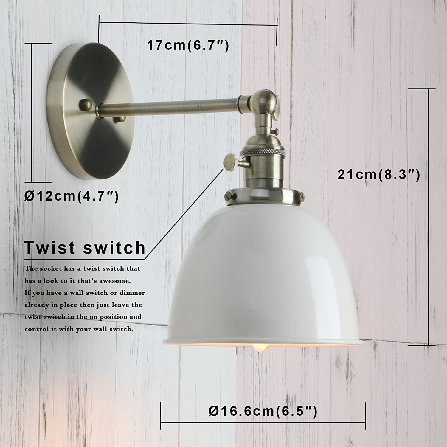 Permo 6.3-Inch Metal Dome Shade Industrial Wall Sconce Lighting ...