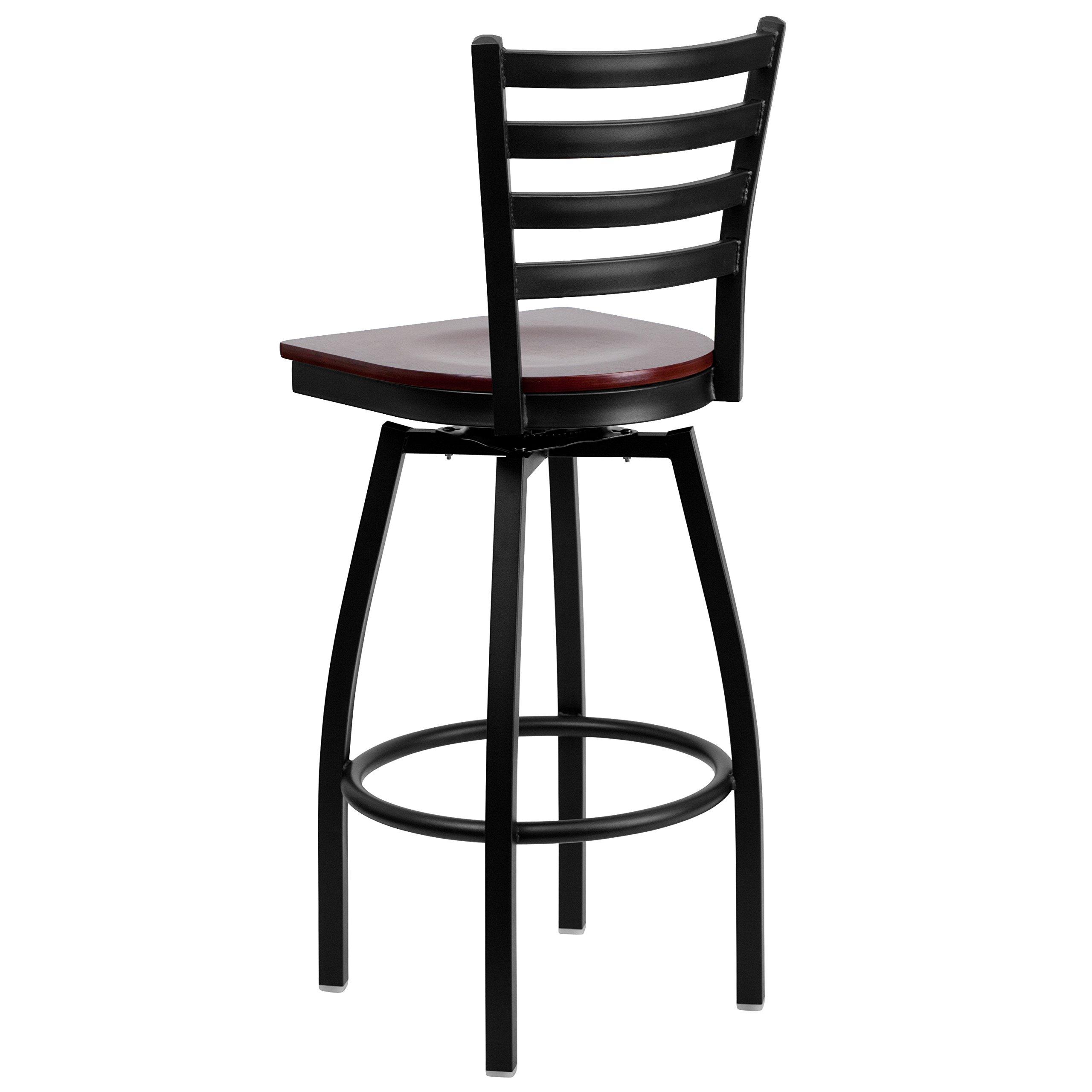 Flash Furniture HERCULES Series Black Ladder Back Swivel Metal Barstool - Mahogany Wood Seat by Flash Furniture (Image #3)