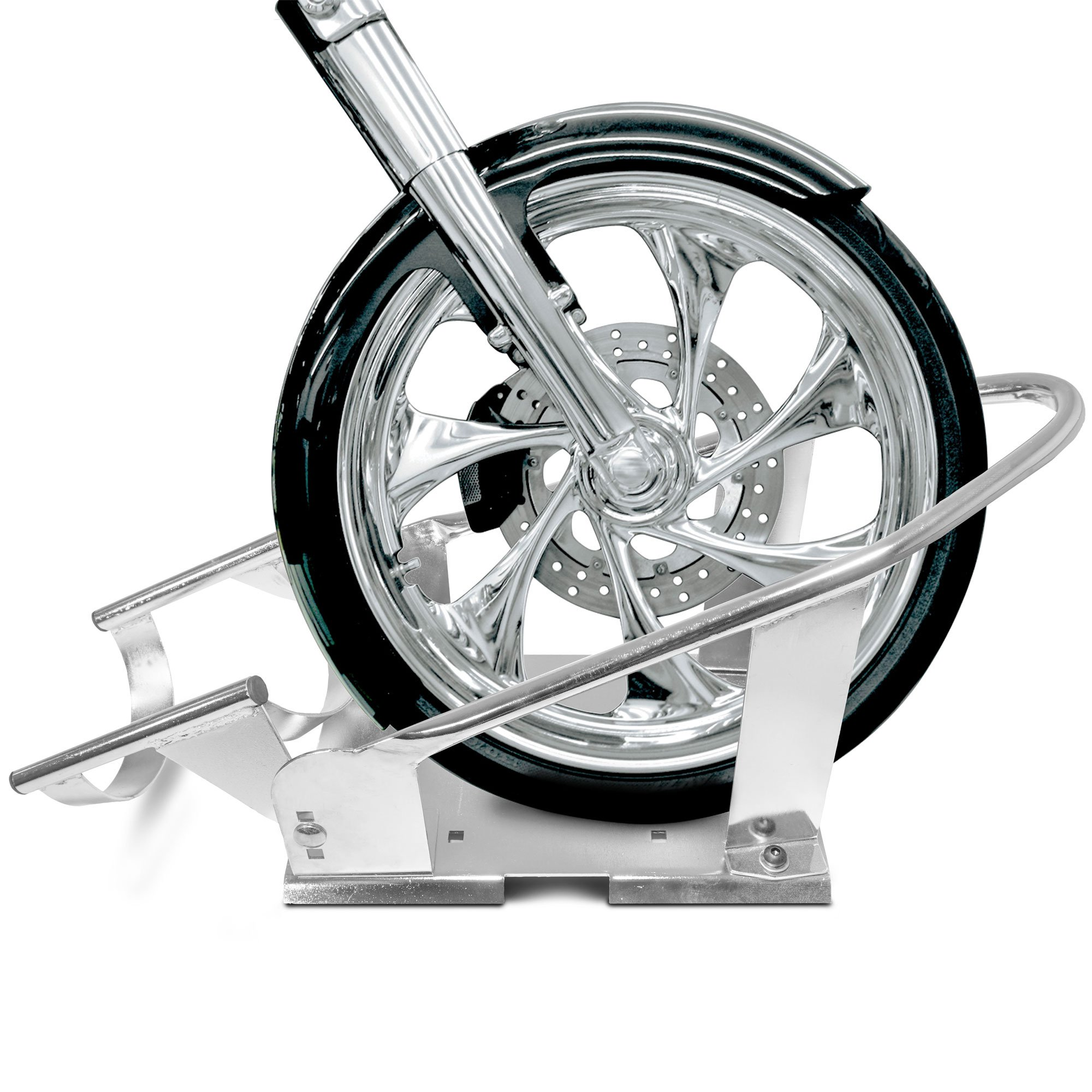 3 Position Adjustable Chrome Motorcycle Wheel Chock Stand Truck Trailer Mount by Titan Ramps (Image #7)