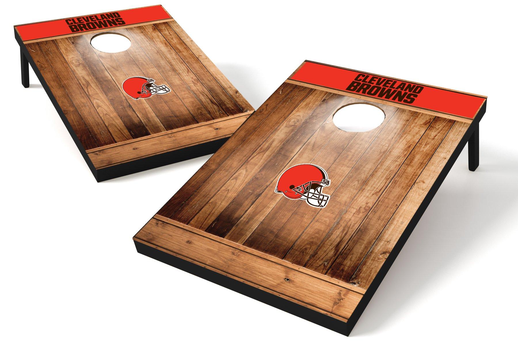 Wild Sports NFL Cleveland Browns 2'x3' Cornhole Set - Brown Wood Design