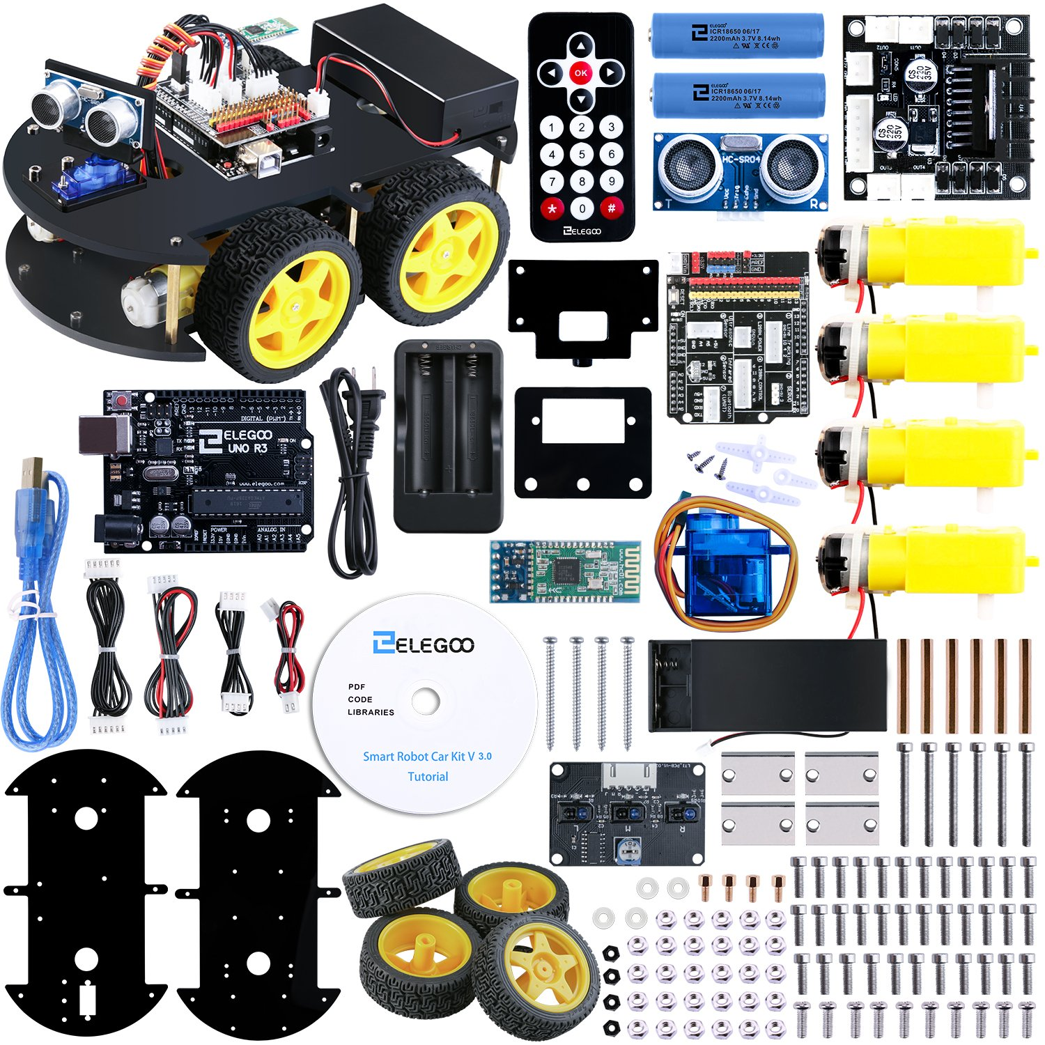 ELEGOO UNO R3 Project Smart Robot Car Kit V 3 0 with UNO R3, Line Tracking  Module, Ultrasonic Sensor, IR Remote Control Module etc  Intelligent and