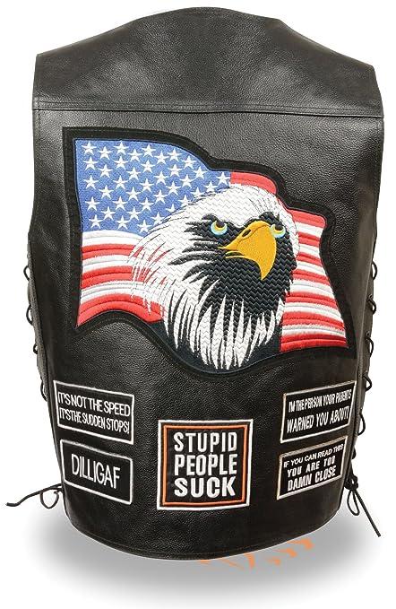 Men's Event Leather Side Lace Eagle /& Flag Pre-Patched ELM3925 Vest 8