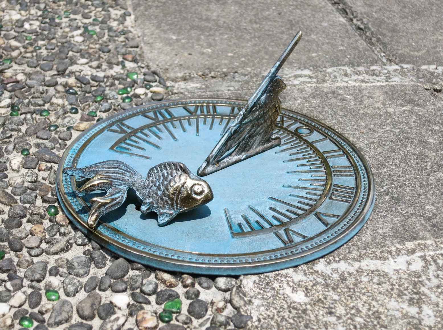 Decorative Brass Goldfish Sundial 7'' inches wide