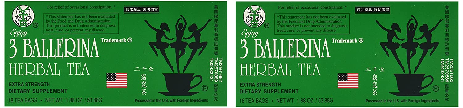 3 Ballerina Dieters Tea Extra Strength - 2 Pack (36 Tea Bags)