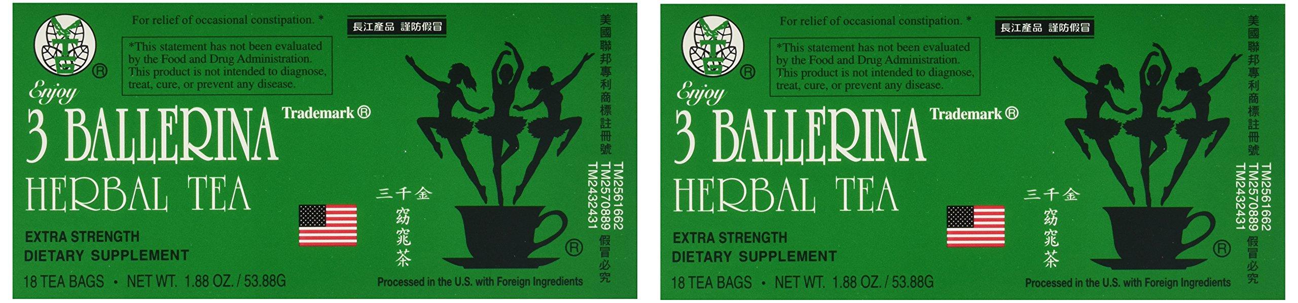 3 Ballerina Dieters Tea Extra Strength - 2 Pack (36 Tea Bags)