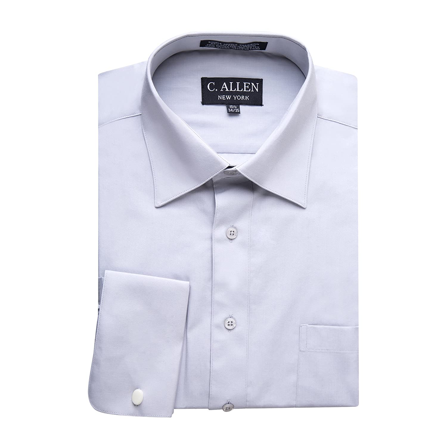 C Allen Mens Regular Fit French Cuff Solid Dress Shirt Colors At