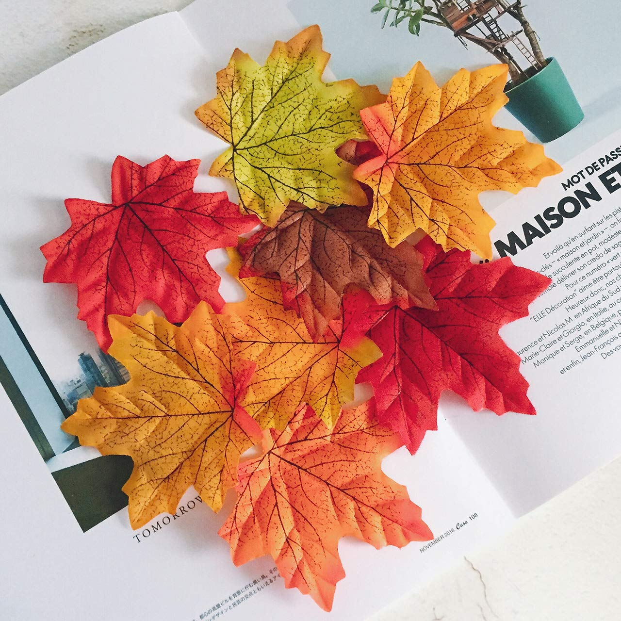 Artificial Maple Leaves, MerryNine Autumn Fall Leaves Bulk Assorted Multicolor Mixed Garland Wedding House Decorations (Maple Leaves-300pcs)