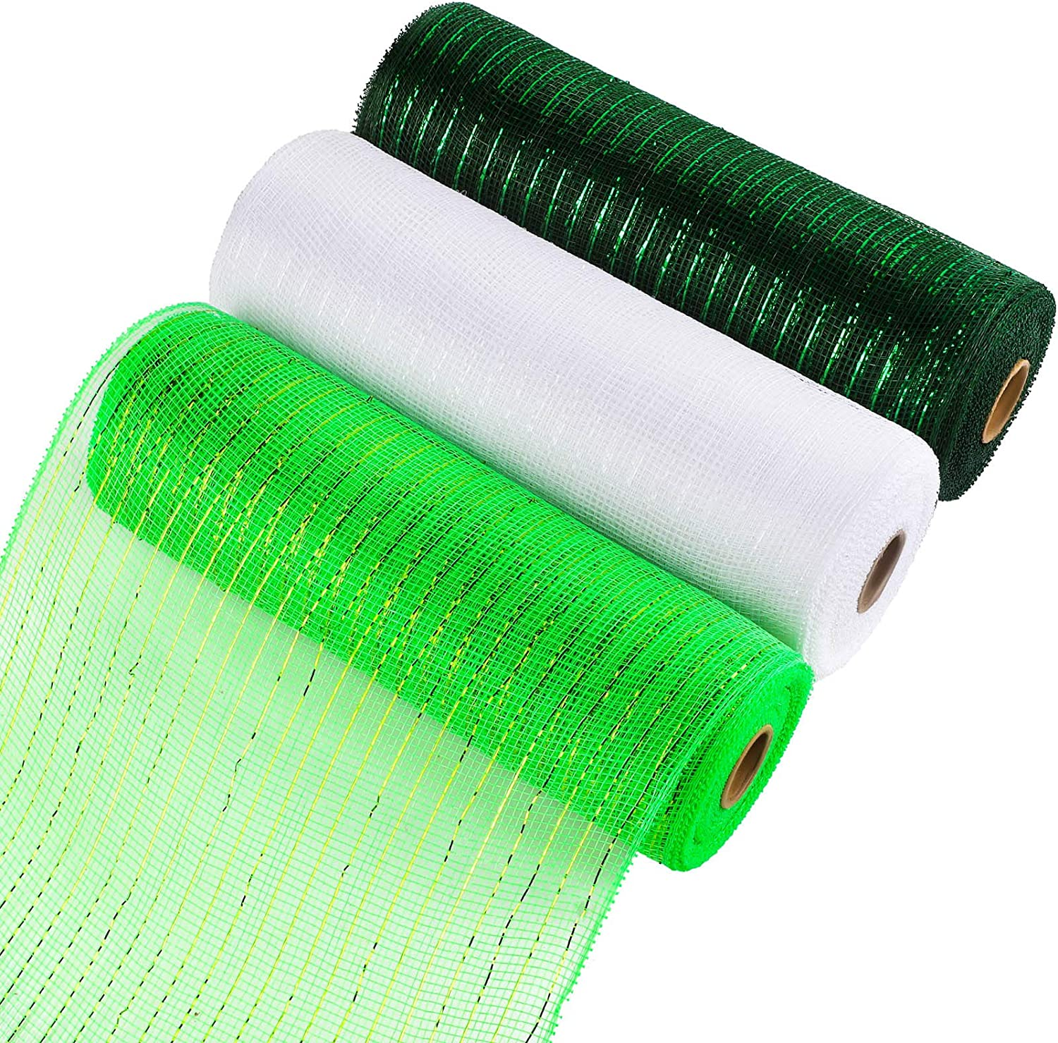 Aneco 3 Rolls Decor Poly Mesh Ribbon 10 Inches x 10 Yards 3 Colors Green, White, Dark Green Christmas Mesh Rolls Metallic Foil Rolls for DIY Project, Christmas Decoration Wreaths