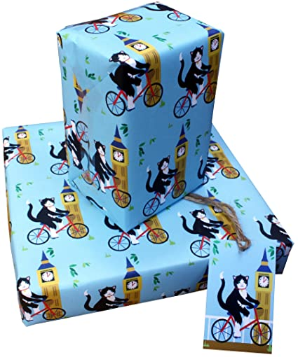 Amazon London Cats Eco Friendly Recycled Birthday Gift Wrap