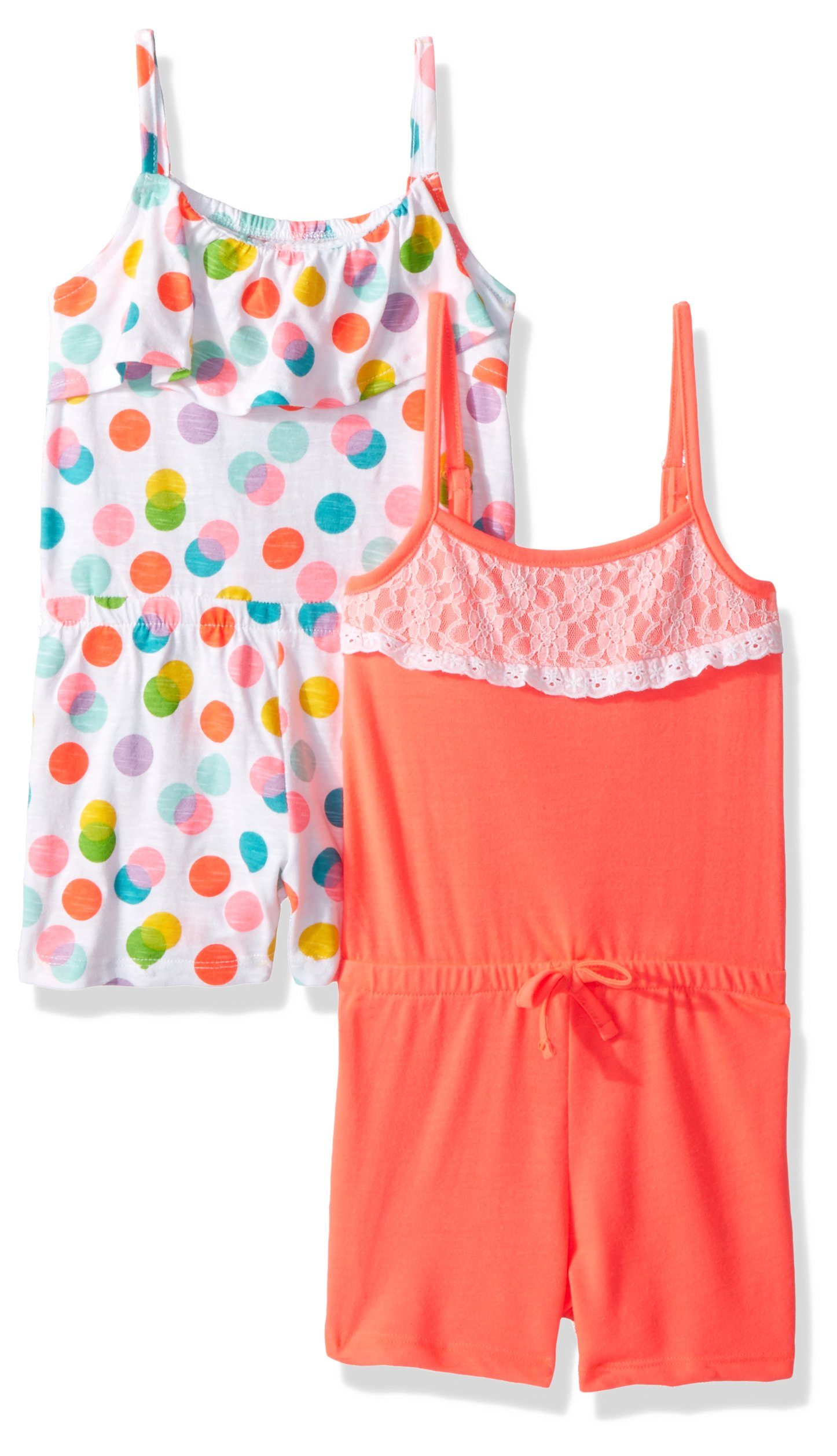 Limited Too Toddler Girls' Romper, Pack Printed Dots with Solid Multi Print, 4T