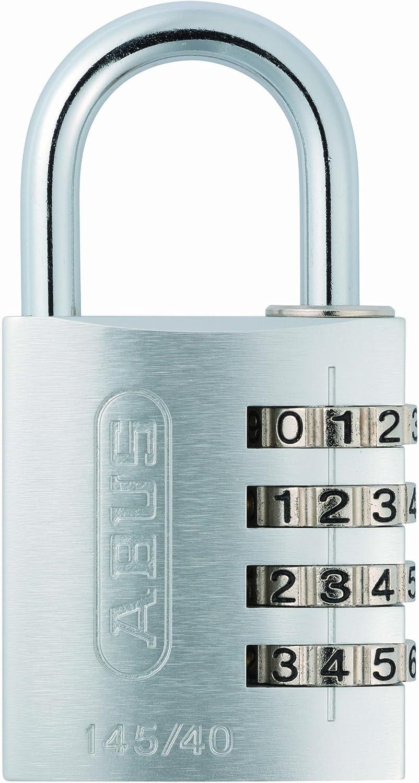 ABU14540SIL Abus 145//40 40 mm Cadenas Aluminium Silver Combinaison 49543