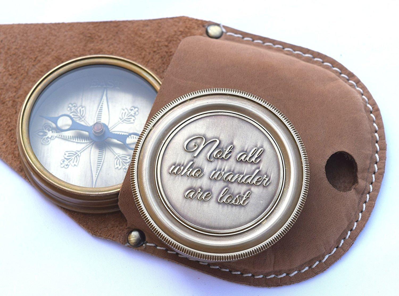 Piraten Kompass Not all who wander are lost Gravur Kompass Messing mit Leder Fall magnetisch Navigationsinstrument