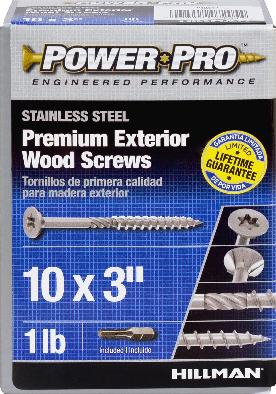 Hillman 48623 Power Pro Premium 305 Stainless Steel Wood Screw 10 X 3-Inch 70 Pack